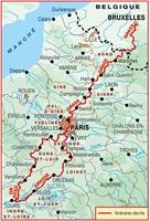 Plan topoguide sentier vers Saint-Jacques-de-Compostelle : Bruxelles-Paris-Tours