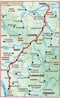 Plan topoguide sentier vers Saint-Jacques-de-Compostelle : Tours - Mirambeau