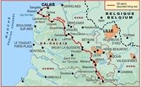 carte La Via Francigena à travers le Pas-de-Calais - GR145