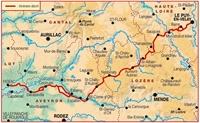 Carte topoguide sentier vers Saint Jacques de Compostelle Le Puy Figeac - GR 65