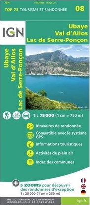 Carte IGN Ubaye - Val d'Allos - Lac de Serre-Ponçon