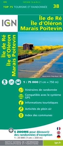 Carte IGN_Ile de Ré - Ile d'Oléron - Marais Poitevin - TOP 75038