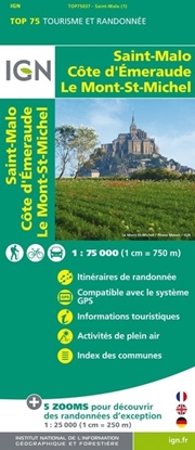Carte IGN Saint-Malo - Côte D'Emeraude - Le Mont-Saint-Michel - TOP 75037