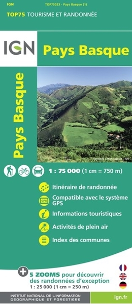 Carte IGN Pays Basque - TOP 75023