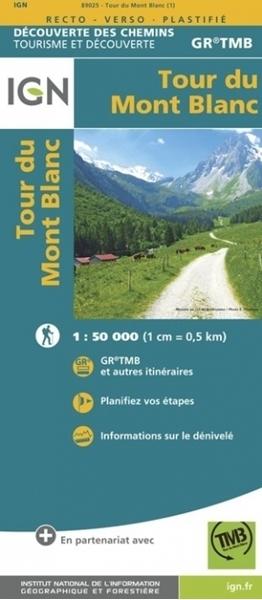 Carte IGN Tour du Mont Blanc