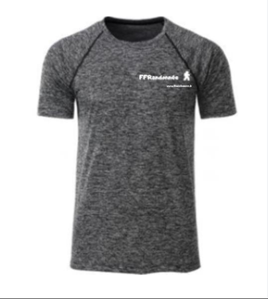 T Shirt technique noir chiné FFRandonnée Homme
