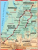 Carte Topoguide Sentier vers Saint-Jacques-de-Compostelle : Périgueux - Roncevaux