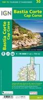 VERSO-Carte IGN Bastia Corte Cap Corse - TOP 75030
