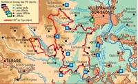 carte du topoguide du tour du beaujolais