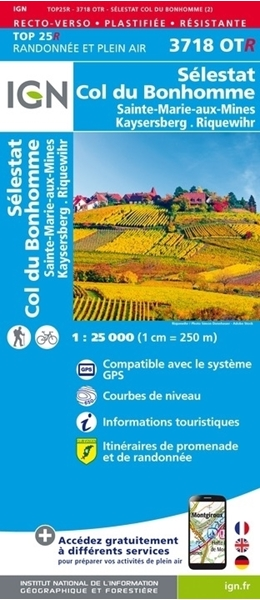 Carte IGN - Sélestat - col du bonhomme - saint-marie-aux-mines - kaysersberg - Riquewihr - RESISTANTE