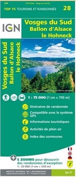 Carte IGN Vosges Du Sud - Ballon D'Alsace - Le Hohneck - TOP 75028
