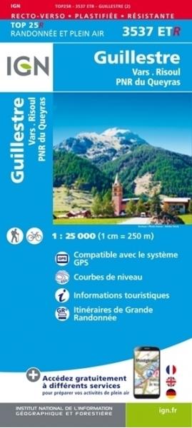 Carte-IGN-3537ETR-Guillestre/Vars/Risoul/Pnr du Queyras (Résistante)-recto
