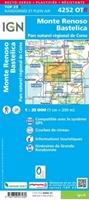 Carte IGN 4252OTR Monte-Renoso / Bastelica / PNR de la Corse (Résistante)-verso