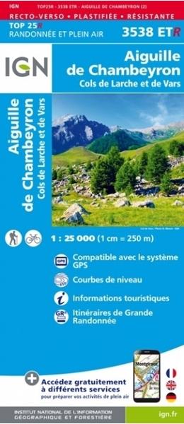 Image-Carte IGN-3538ETR-Aiguille de Chambeyron - Cols de Larche et de Vars RESISTANTE