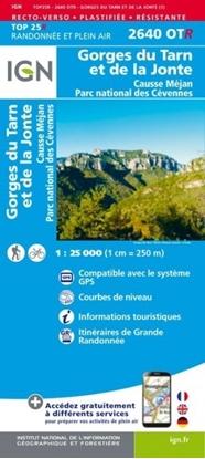 Image Carte IGN 2640OTR Gorges du Tarn et de la Jonte - Causse Méjean -PN des Cevennes - RESISTANTE