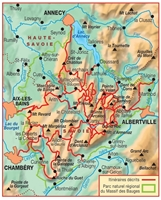 Carte Topoguide Tours et traversées du massif des Bauges - GR® 96
