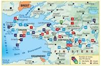 Carte implantation La presqu'île de Crozon et la Vallée de l'Aulne... À pied